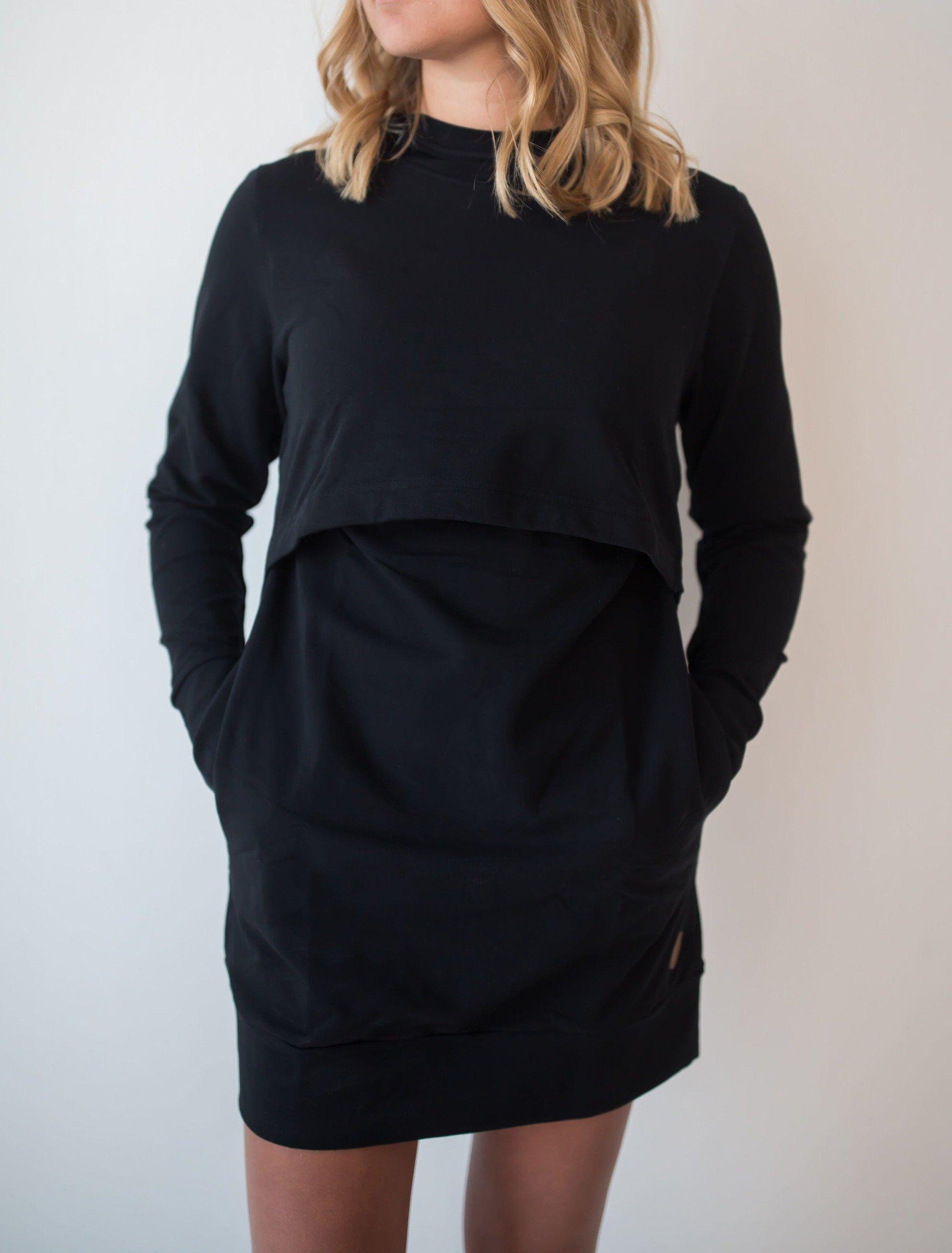 Blaa KAIRO Nursing hoodie, imetyshuppari musta