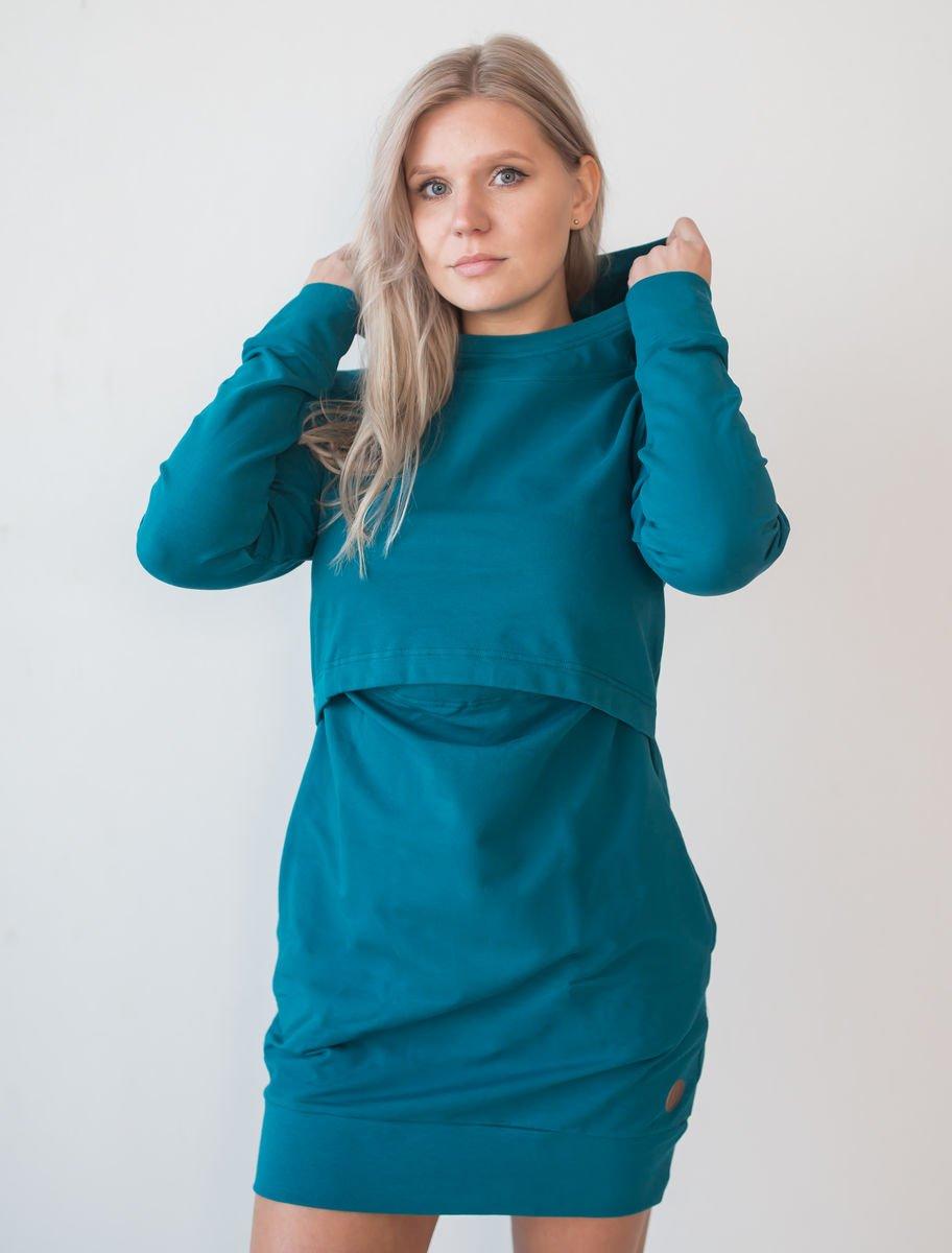 Blaa KAIRO Nursing hoodie, imetyshuppari petrooli