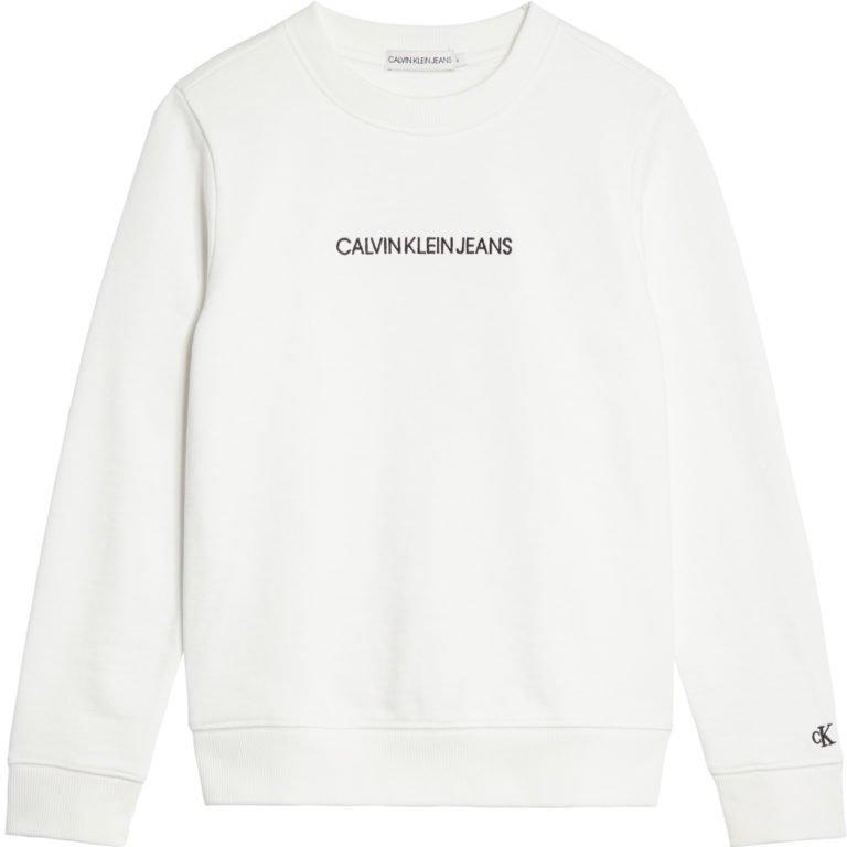 Calvin Klein, embroidered logo collegepusero nuorille, valkoinen