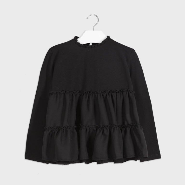 Mayoral pitkähihainen, sifonkihelmainen paita, musta