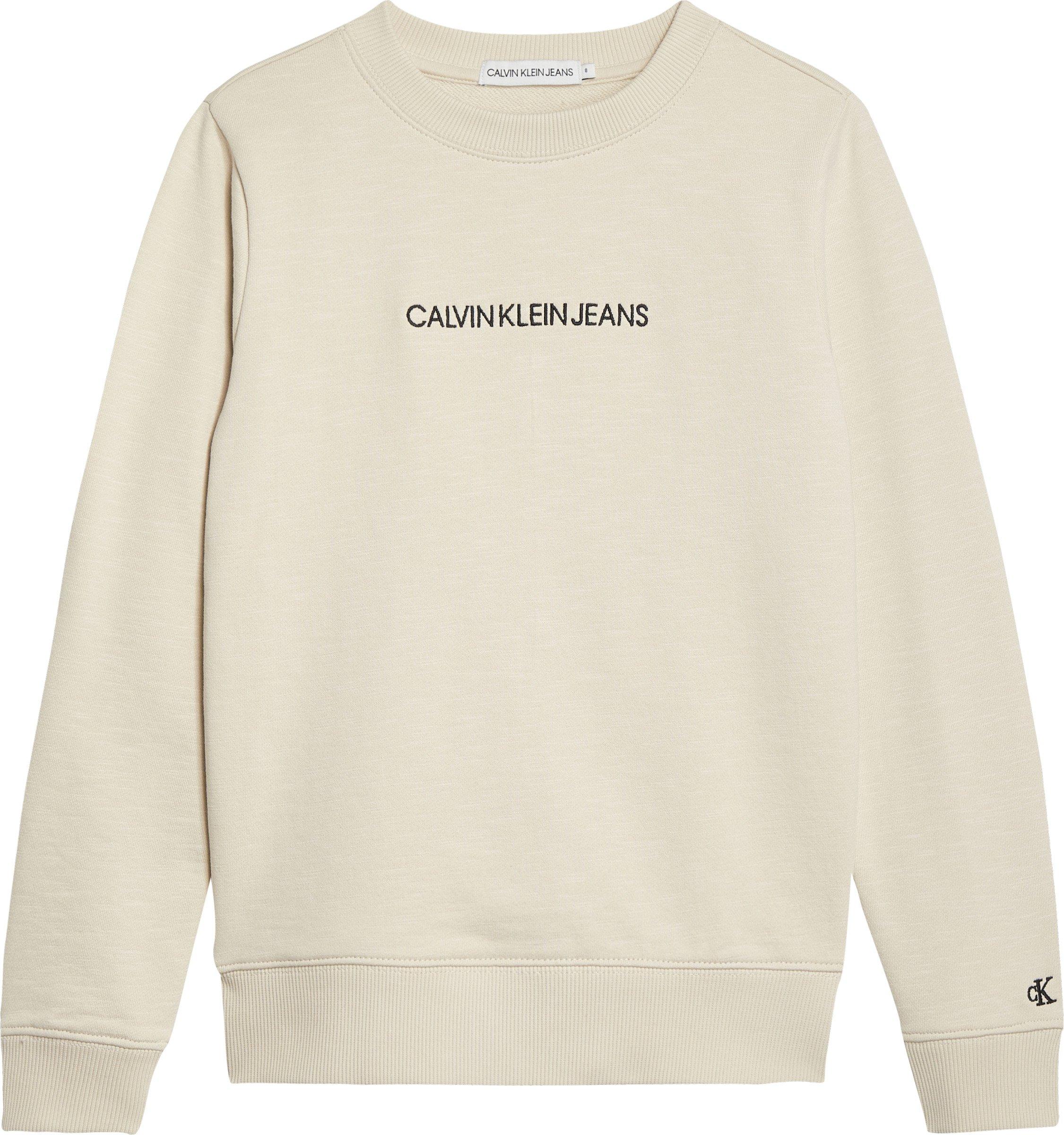 Calvin Klein, embroidered logo collegepusero, luonnonvalkoinen