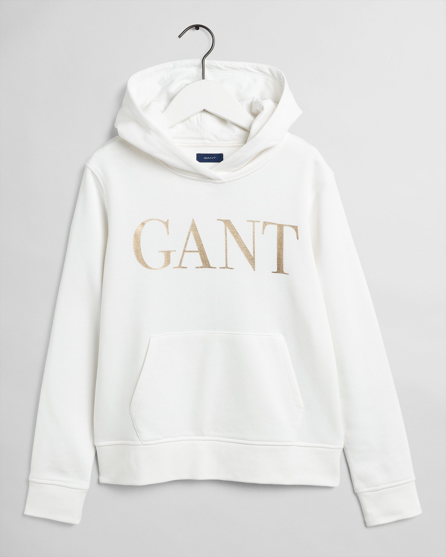 Gant Shiny logo hoodie nuorten huppari, luonnonvalkoinen