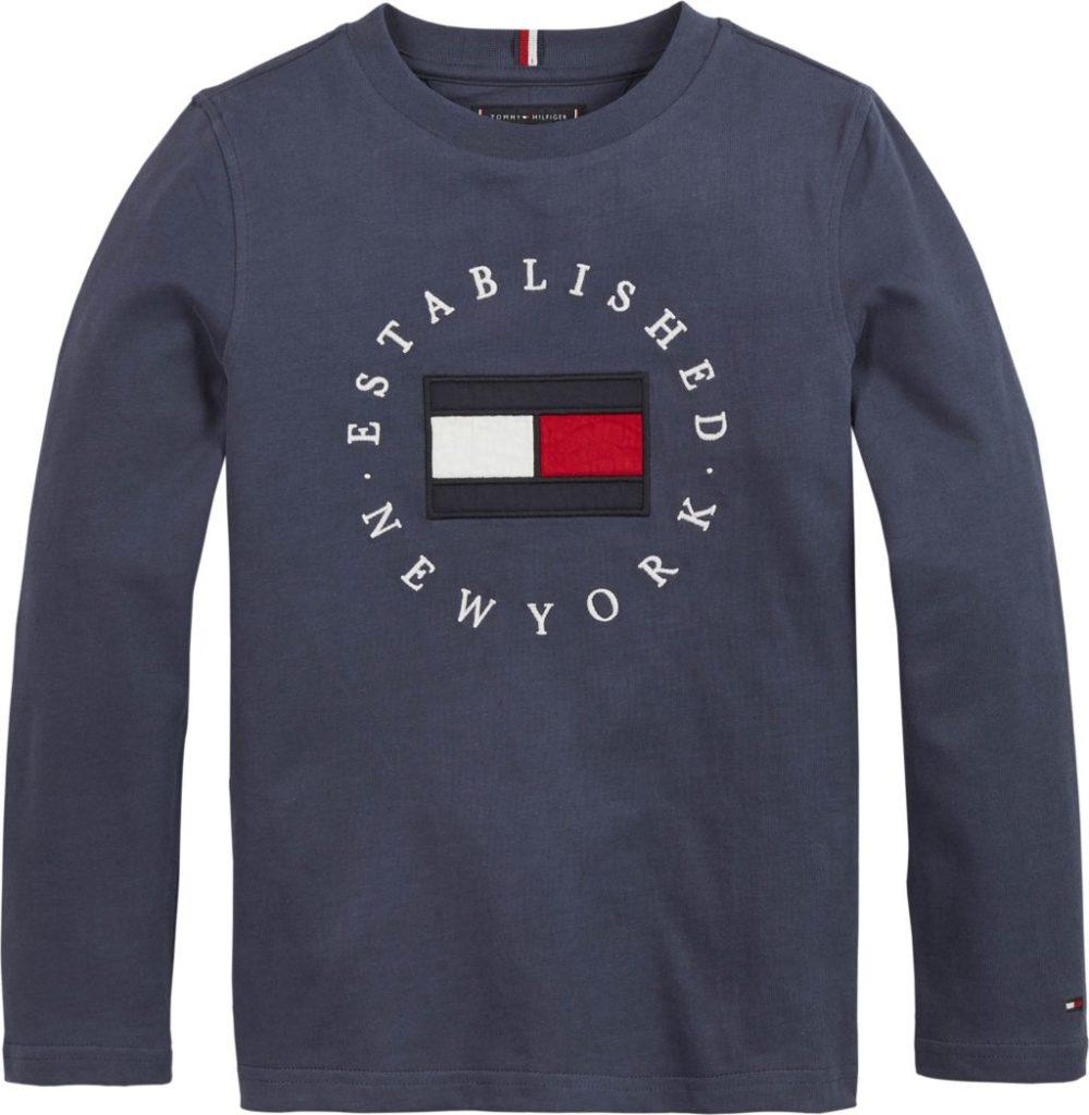 Sininen Tommy Hilfiger Heritage logo, lasten pitkähihainen trikoopusero 104-122cm