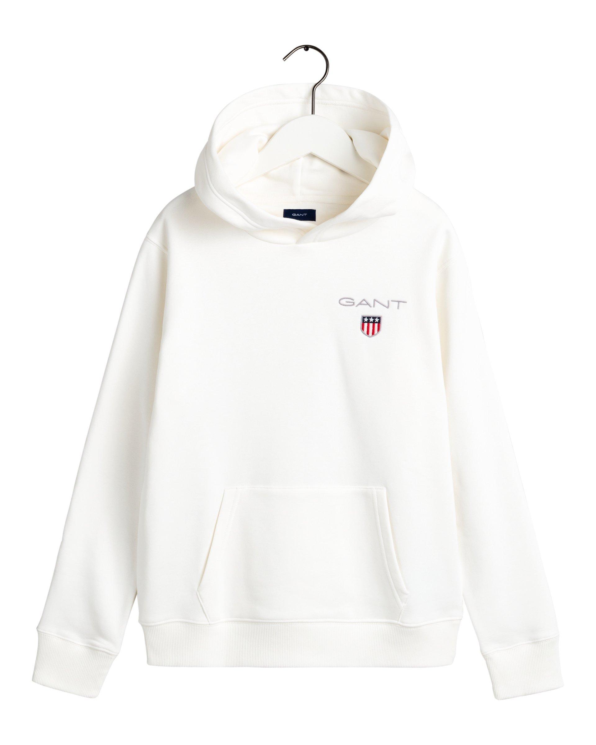 Gant, medium shield sweat hoodie huppari nuorille valkoinen