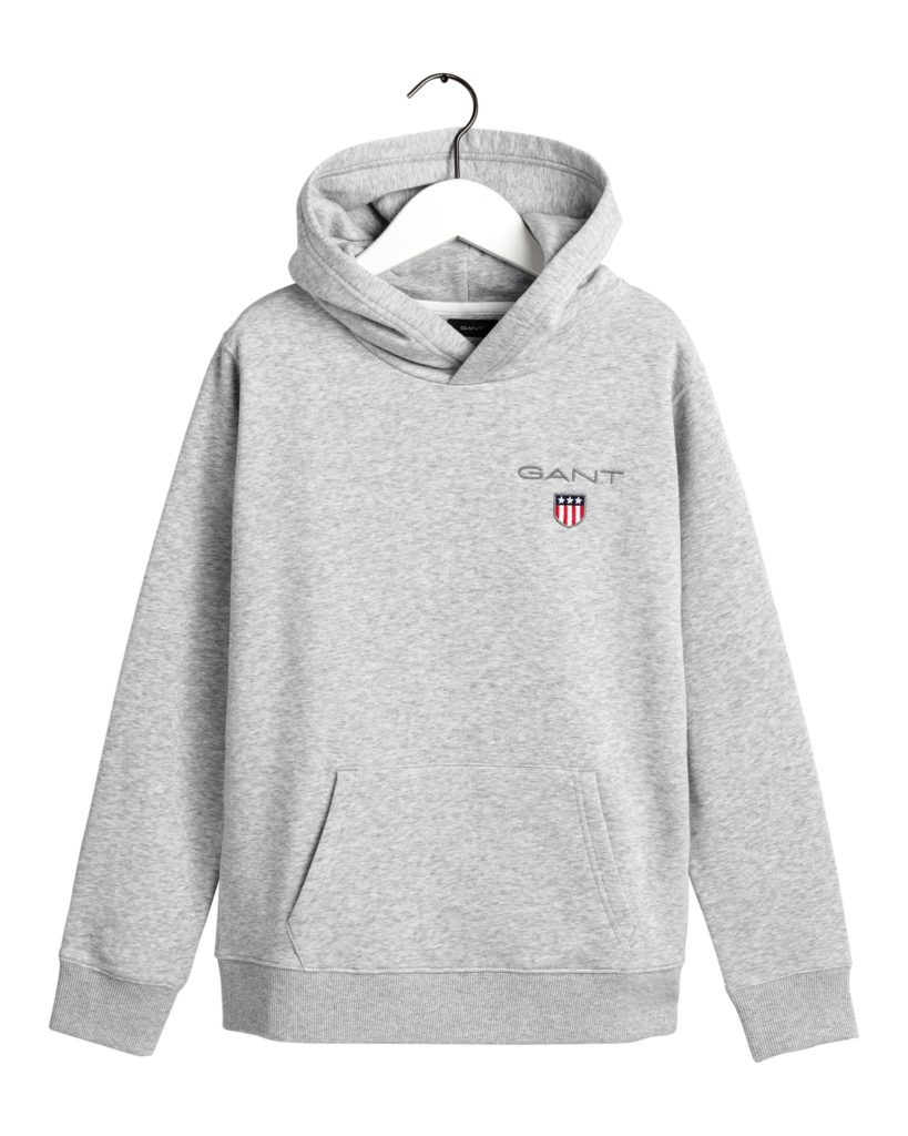 Gant, medium shield sweat hoodie huppari nuorille harmaa