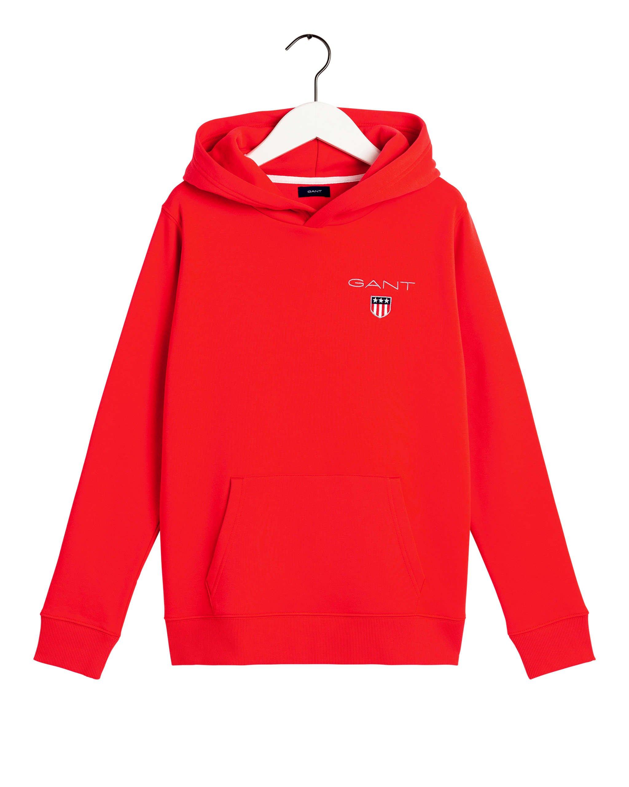 Gant, medium shield sweat hoodie huppari nuorille punainen