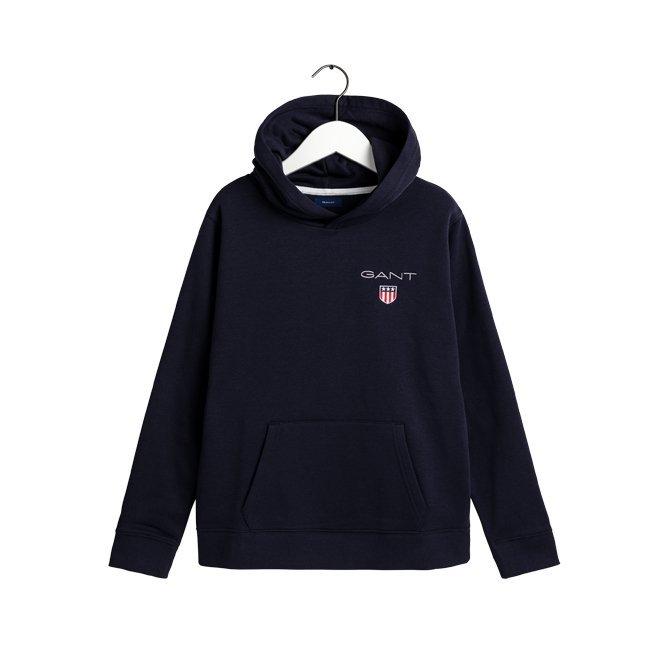 Gant, medium shield sweat hoodie huppari nuorille musta