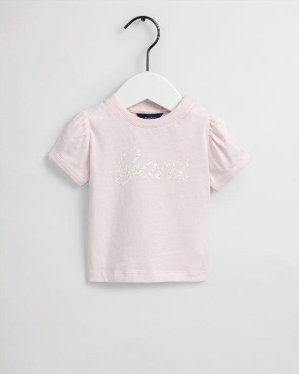 Gant, vauvan D1. Floral script ss t-paita, vaaleanpunainen