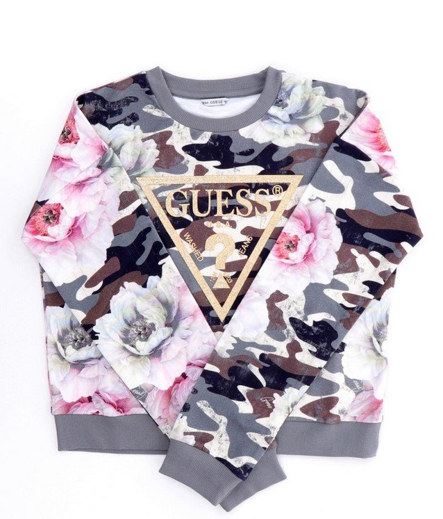 Guess, camo/kukkakuosinen collegepusero