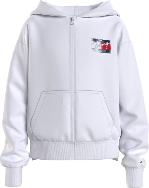 Tommy Hilfiger, Flag Print zip hoodie, valkoinen huppari vetoketjulla