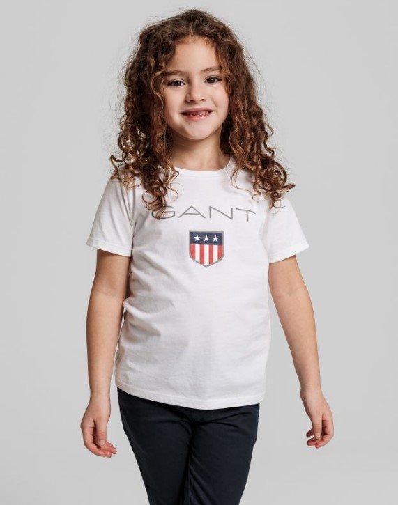 Gant, Lasten t-paita shield-logolla, valkoinen