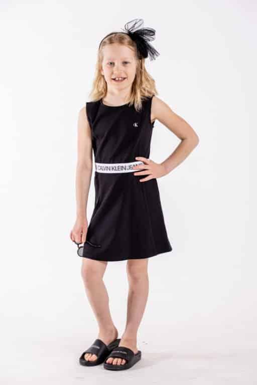 Calvin Klein, logo tape punto sleeveless mekko, musta