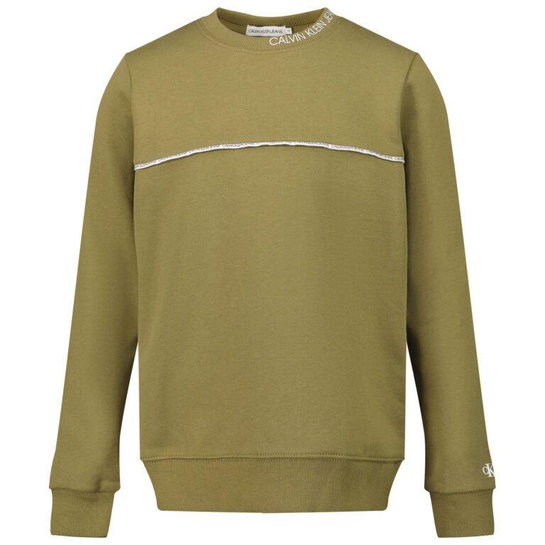 Calvin Klein, Logo piping collegepaita, olive khaki