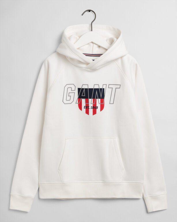 Gant, Sporty Shield hoodie, valkoinen