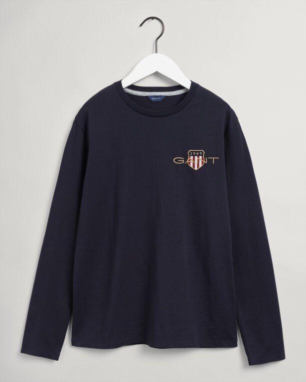 Gant, Med Archive Shield Ls T-shirt, Navy
