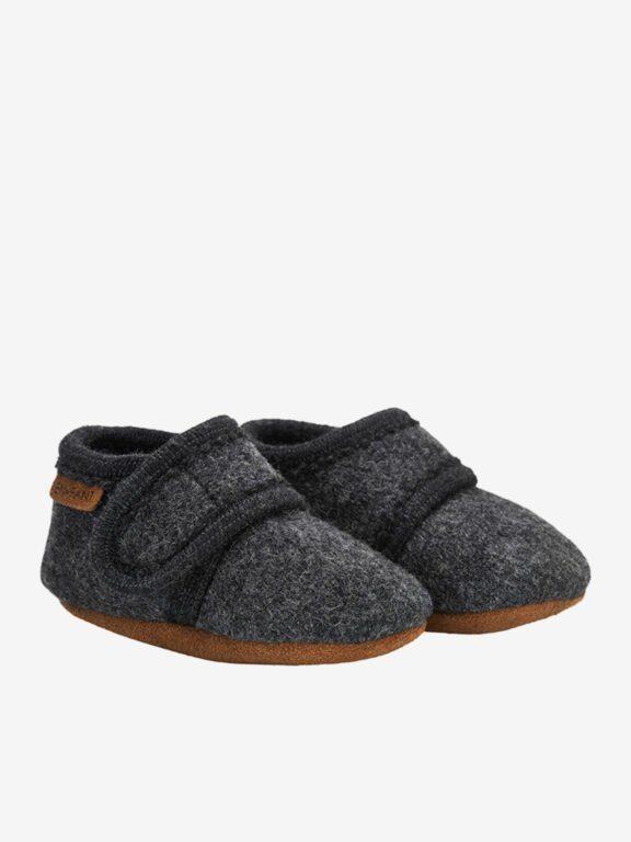 En Fant wool slipper, dark grey melange
